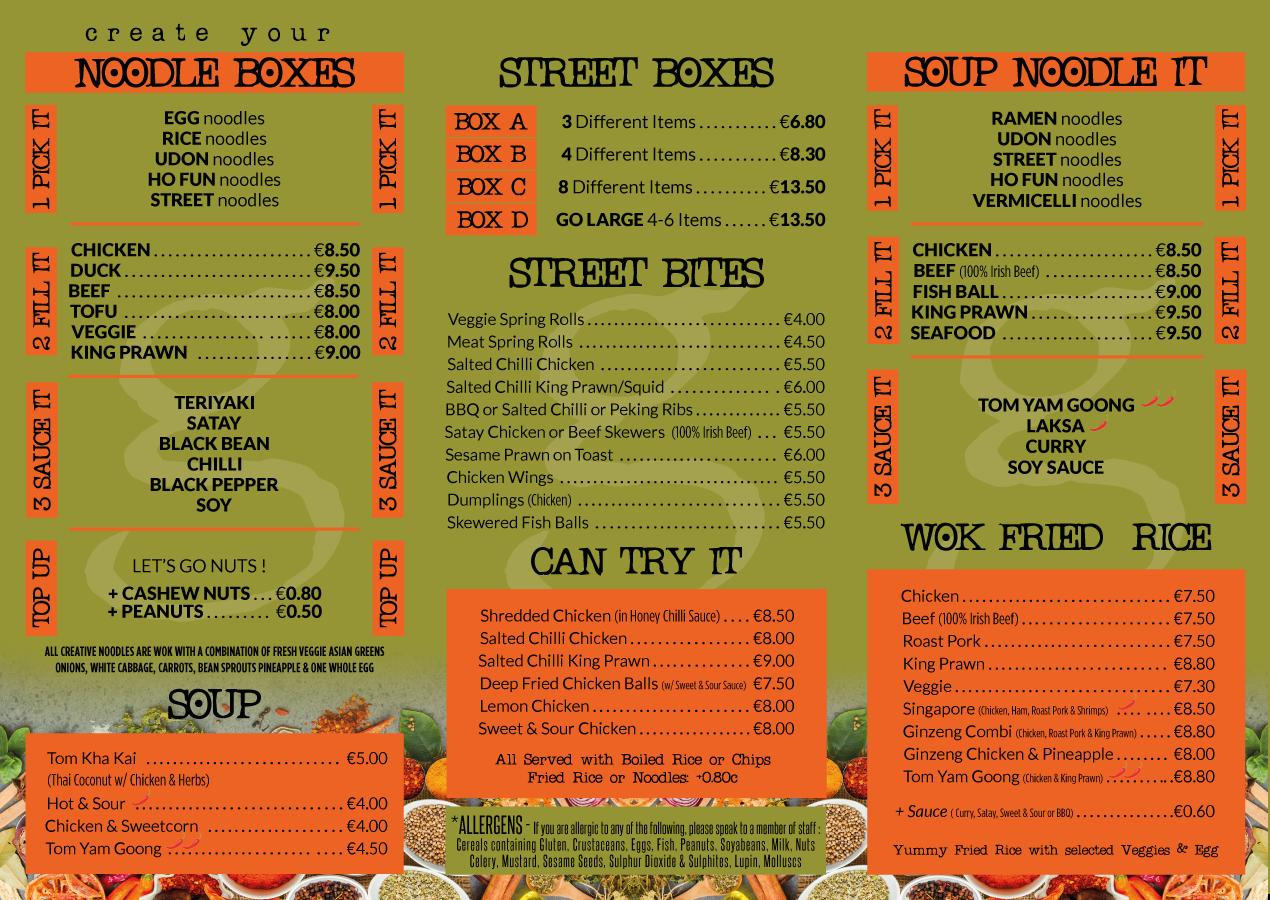 our menu ginzeng asian restaurants ireland